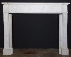 101500  Description:First quarter 20th century Louis XVI style Carrara marble mantel having paneled jambs, frieze and corner blocks. Metal insert available separately. Opening: 43.25W x 34.87H. Provenance: The Plaza Hotel, NYC. Material:Marble Dimension: 60(W) 46.5(H) 15.25(D) Location:CT IV3