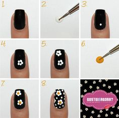 Semi-permanent varnish, false nails, patches: which manicure to choose? - My Nails Gel Nail Art, Nail Art Diy, Easy Nail Art, How To Nail Art, Daisy Nails, My Nails, Nail Art Designs, Simple Nail Designs, Flower Nail Art
