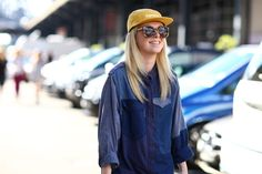 #Celine patchwork denim shirt and #Supreme cap | Photo by Phil Oh / Street Peeper #streetstyle