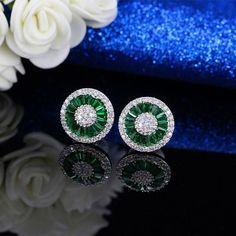 Dark Blue Crystal Jewelry Luxury Round Shape Cubic Zircon Wedding Stud Women Earrings Party Gift