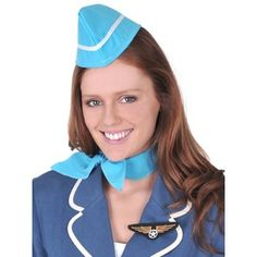 Dr Tom's Adult Retro Air Hostess Kit Blue Hat, Scarf & Badge Aviation Party Dress Up Costume Hire, Costume Shop, Costume Dress, Fancy Dress Accessories, Party Accessories, Costume Accessories, Costumes For Sale, Costumes For Women, Airplane Costume