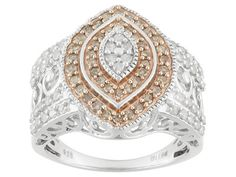 Stunning diamond ring - white and champagne colored diamonds! Love it. | 1.00ctw Round Diamond 14k Rose Gold And Rhodium Over Sterling Silver Ring