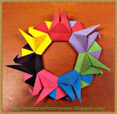 O QUE É MEU É NOSSO: Origami - Guirlanda de Tsurus (Cranes Wreath) - Mandala de Tsurus (Cranes Ring)