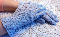 Your place to buy and sell all things handmade Crochet Lace Edging, Hand Crochet, Knit Crochet, Lace Gloves, Crochet Gloves, Knitting Patterns, Crochet Patterns, Vintage Style, Vintage Fashion