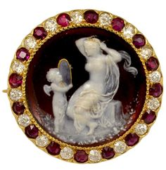 Tiffany red enamelled cameo.