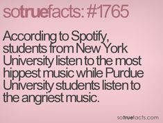 According to Spotify, students from New York University listen to the most hippest music while Purdue University students listen to the angriest music.