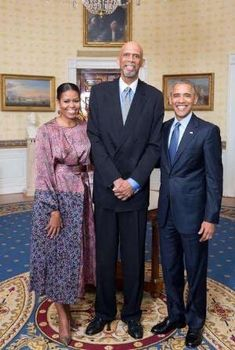 The First Lady Michelle Obama, NBA Legend Kareem Abdul Jabbar and President Barack Obama by Makia55
