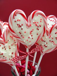 """Sweet Heart Valentine Pops  24 mini candy canes 12 6"""" lollipop sticks 1 cup white candy coating Sprinkles"""