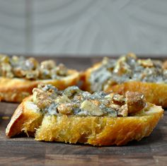 Crostini with Gorgonzola, Pecans, and Honey mmmmmm yumm drizzle with honey before serving oh gosh