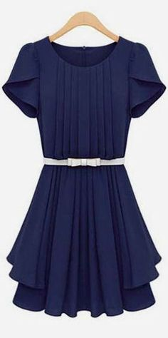Navy Pretty Petal Chiffon Dress //