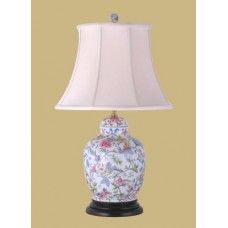 Floral Jar Lamp with Hand Made Shade