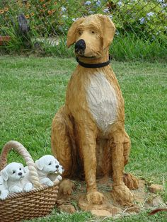 Wood Carvings in Galveston, Texas - photo by Sandy (jvlady), via Flickr   ...The dog appears to have been carved from a tree stump...
