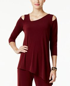 Black too - slinky material that doesn't wrinkle - Alfani Cold-Shoulder Asymmetrical Top, Only at Macy's - Tops - Women - Macy's
