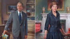President Obama Warmly Welcomes the Bush Presidents Back to the White House:  Portraits of former President George W. Bush and Laura Bush were unveiled at the White House, Thursday, May 31, 2012, in Washington.