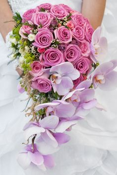 We adore this pink cascading wedding bouquet. Take a look at these beautiful wedding bouquets! Orchid Bouquet Wedding, Cascading Wedding Bouquets, Rustic Wedding Flowers, Wedding Flower Arrangements, Flower Centerpieces, Marie, Creations, Amazing Ideas, Top 40