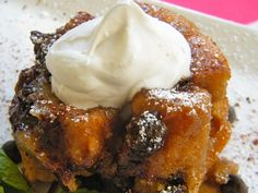 Chocolate Bread Pudding- maybe reduce fat by using a different milk