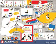 Puffin Party Birthday Package PRINTABLE / Gender Neutral Birthday Printouts / Puffin Birthday / Party Printables / Red Blue Yellow Party Pkg - pinned by pin4etsy.com