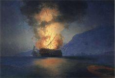 Exploding Ship - Ivan Aivazovsky, 1900