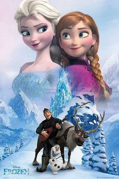 Póster Collage Frozen: El Reino del Hielo Estupendo póster con la imagen de los personajes principales de la película de animación Frozen: El Reino del Hielo.