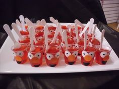 Elmo Jello cups! Think of all the other Sesame characters you could make.