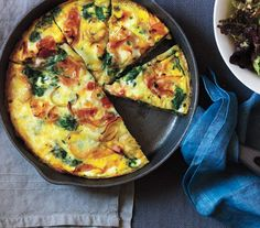 Potato, Ham, and Spinach Frittata | Get the recipe: http://www.realsimple.com/food-recipes/browse-all-recipes/spinach-frittata-00100000074101