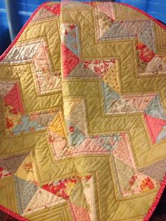 A Soft Palette 36 X 40 Zig Zag Quilt In The by WrappingYouInWarmth, $72.00