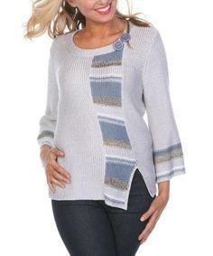 Love this Gray Stripe Knit Side-Slit Sweater - Women & Plus on #zulily! #zulilyfinds