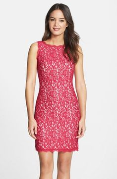 Adrianna Papell Boatneck Lace Sheath Dress (Regular & Petite) available at #Nordstrom Kinda cute summer color