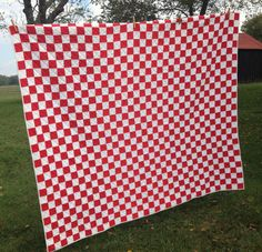 Vintage Red White Quilt Hand Quilted Cotton Fabric by AStringorTwo