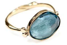 10K Rosecut Blue Topaz Ring