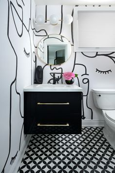 Bathroom Decor black and white By Decor by Christine Stunning black and white face wallpaper used in this powder room with touch of gold for a glam look. Coastal Powder Room, Tiny Powder Rooms, Modern Powder Rooms, Powder Room Decor, Powder Room Design, Black Powder Room, Wc Decoration, Black And Gold Bathroom, Black And White Wallpaper