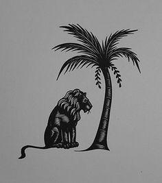 LION & PALM TREE : Art Deco Animal Print of a Woodcut / Engraving By GIBBINGS | eBay