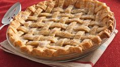Brown sugar, cream and apple pie spice blend in a mouthwatering bed for sugared apple slices in this beautiful pie that takes a traditional favorite and steps it up a notch.