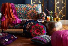 Bohemian Fascination - Evoke a jewel-toned tea parlor or lush Moroccan courtyard in your living room or master suite with this eye-catching collection of all things boho. Whether you're looking for a touch of color or an all-out transformation, this selection provides stylish picks for any aesthetic.