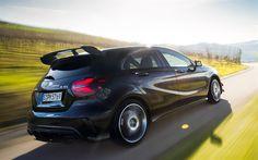 Scarica sfondi Mercedes-Benz A45 AMG, 2017 auto, 4matic, w176, strada, nero a45, Mercedes