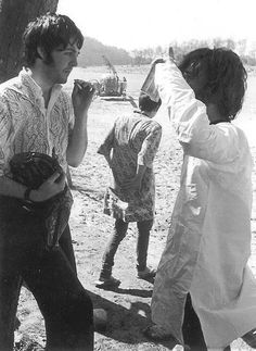 Late February 1968. Paul and John in discussion during their time in Rishikesh.