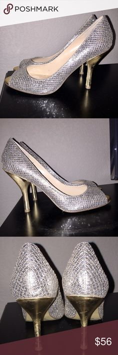 Gorgeous Nine West Silver Sparkly Heels Shoes Sz 8 In good condition with wear to bottoms on the gold heel as shown in third photo. Truly gorgeous! Women's size 8. Keywords: Glitter Glittery Christian Louboutin Jimmy Choo Vera Wang Wedding 👰🏻 Sparkly Rhinestone Flashy Sparkling Shiny Bling Pumps Heels 👠 Shoes Fendi Gucci Chanel Louis Vuitton Celine Givenchy WNSORBET2TJ Nine West Shoes Heels