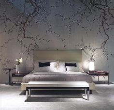 Exquisite bedroom with DeGournay plum blossom wallpaper De Gournay Wallpaper, Chinoiserie Wallpaper, Bedroom Wallpaper, Wallpaper Ideas, Silk Wallpaper, Tree Wallpaper, Wallpaper Designs, Chic Wallpaper, Wallpaper Patterns