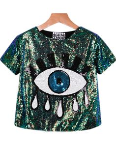 Green Short Sleeve Sequined Eye Print Blouse, Register SHEIN to get a FREE GIFT