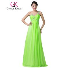 >> Click to Buy << Grace Karin Long Prom Dress One Shoulder Sweetheart Sequins Green Prom Dresses Chiffon Floor Length Elegant Party Gowns 2017 #Affiliate