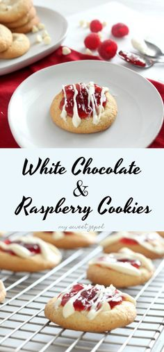 You can't go wrong with a cookie batter that includes melted white chocolate, white chocolate chips, raspberry preserve and more white chocolate drizzled over. Make them at home and spread some love. #helpingcookies #cookies