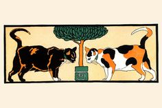 Cats by the Plant, by Edward Penfield