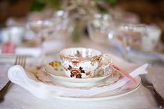 .wedding; vintage table setting with adorable teacups