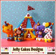 Birthday Circus cake topper set by Jelly Cakes, via Flickr