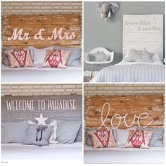 Cabeceros de madera rústicos y con letras -DIY Vintage Decor, Room Inspiration, Painted Furniture, Bed Pillows, Kids Room, Sweet Home, New Homes, Diy Projects, House