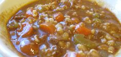 Slow Cooker Beef Barley Stew- freezer to crockpot meal Slow Cooker Freezer Meals, Freezer Cooking, Slow Cooker Beef, Crock Pot Cooking, Slow Cooker Recipes, Crockpot Recipes, Soup Recipes, Real Food Recipes, Cooking Recipes