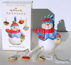 Hallmark Sweet Tooth Treats ornament set Snowman and mini Cookies 2006 orig box
