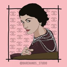"""COCO CHANEL Powerful Women Series No.12  Coco Chanel, real name Gabrielle Bonheur Chanel, was a French fashion designer who ruled over Parisian haute couture for almost six decades. Her elegantly casual designs inspired women of fashion to abandon the complicated, uncomfortable clothes—such as petticoats and corsets—that were prevalent in 19th-century dress. Among her now-classic innovations were the Chanel suit, the quilted purse, costume jewelry, and the """"little black dress."""" Faithful to… Quilted Purse, French Fashion Designers, Petticoats, Powerful Women, Coco Chanel, Corsets, Girl Power, Parisian, Costume Jewelry"""