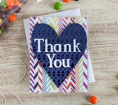 """Heart Thank you Card - Thankyou from the many colors of my heart! Finished card measures 4.25"""" W x 5.25"""" H. - Dezi Moss"""