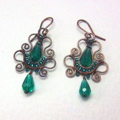 New to AnnaWireJewelry on Etsy: Emerald Teardrop Copper Earrings Soutache Styled Wire Wrapped Jewelry (39.00 USD)